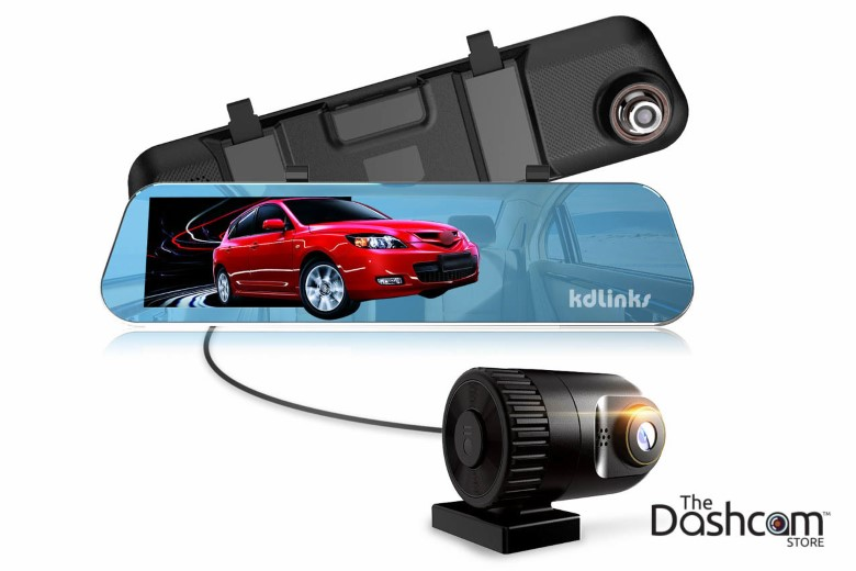 image of new 2017 KDLinks R100 two-channel Ultra HD rear-view mirror style dashcam