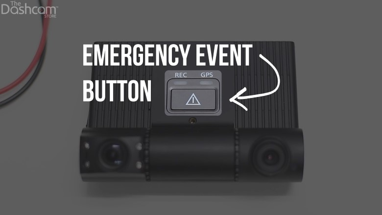The EOS VT-300 features an emergency event button for drivers to manually tag or lock videos to the unit. | The Dashcam Store Blog