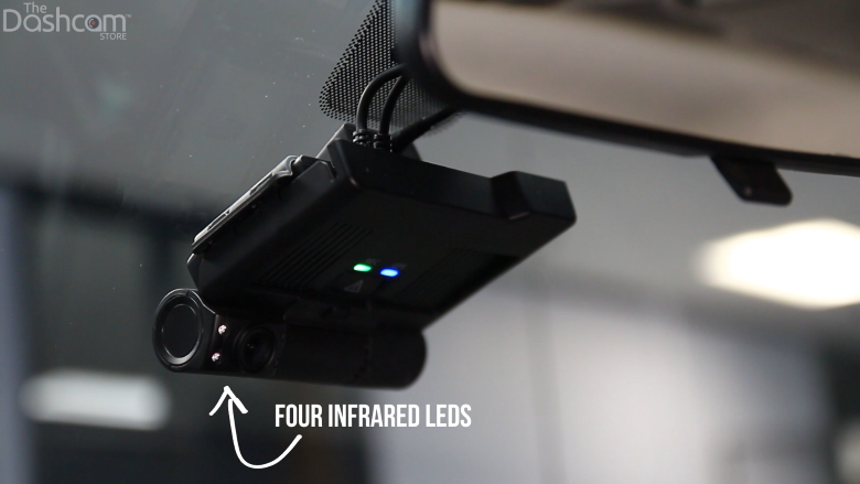 The left lens is designed for interior-facing recording, featuring infrared LEDs for night-vision cabin recording. | The Dashcam Store Blog