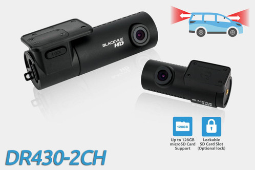 BlackVue DR430-2CH 720p HD dual-lens GPS-ready dash cam | For front and rear audio and video recording