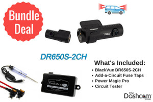 BlackVue DR650S-2CH Dash Cam DIY Bundle | Kit Includes Power Magic Pro, Circuit Tester and Fuse Taps | Install it Yourself!
