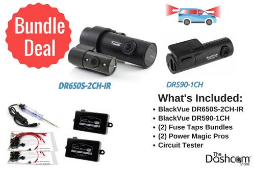 BlackVue DR650S-2CH-IR + DR590-1CH | The Ultimate Rideshare Dashcam Bundle