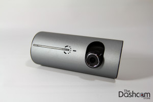 DVR-R300 Dual Lens Dashcam showing movable front element pointed down
