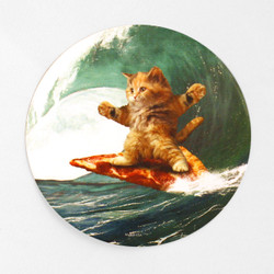 Surf's Up Pizza Cat Sticker