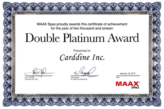 Maax Spas awards Carddine Backyard Experts the 2016 Double Platinum Award