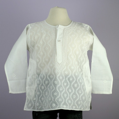 Toddler's white kurta top w/ white embroidery