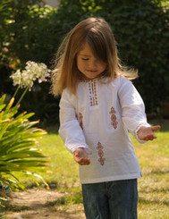 Kota - Girls Kurti Top (2T, 3T, 4T) (Long Sleeve, White w/ copper embroidery, Cotton)