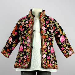 Girl's Kashmiri Wool Jacket (2T,3T,4T,5T)(Black w/ beautiful hand embroidery)