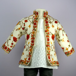 White Kashmiri Embroidered Wool-Kids Jacket