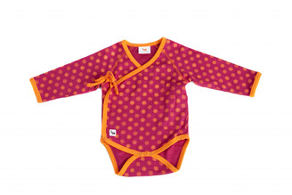 "Baby's ""Rangoli"" One Piece Kimono-style (Ruby red /Orange, long sleeve, Cotton)"