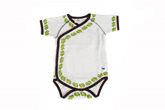 "Baby's ""Cars"" One Piece Kimono-style (White w/ brown, short sleeve, organic cotton)"