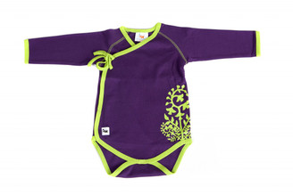 "Baby's ""Fern"" Kimono-style One Piece  (Purple & Lime, long sleeve, organic cotton)"