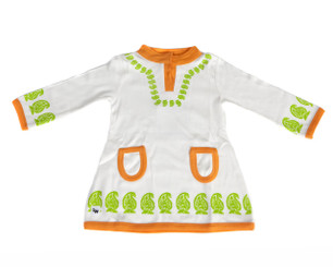 Paisley Dress (2T,3T,4T,5T)(White/Lime Green/Orange, long sleeve)