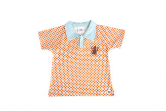 "Boys ""Monkey"" Polo T-shirt (Orange/White/Blue, Short sleeve, Organic Cotton)"