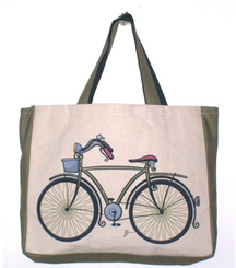 Eco-friendly totes from Jhola Co with image of a serious bicycle.