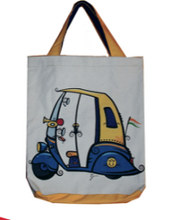 Eco-Friendly Cotton Canvas Totes from Jhola Co with Big Auto-Rickshaw