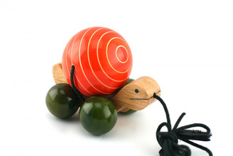 Tuttu turtle Handcrafted Wooden Pull Toy (Red)