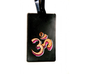 Chumbak: Om luggage tag (black, with red/yellow OM)