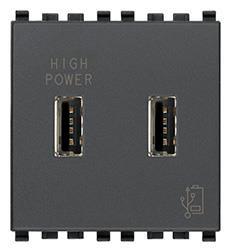 Vimar Eikon USB 5V/2.1A Power Adapter, 2-Module, Grey