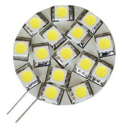 G4 LED Bulb, side pins, 12 volt - 24 Volt (10-30vdc), WARM white LEDs, 157 lumens