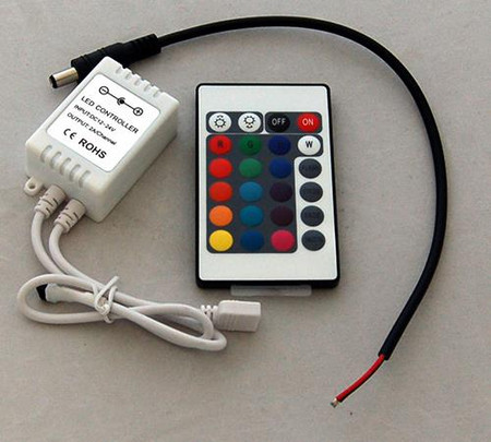 RGB Controller and 24 Button IR Remote with DC Connector