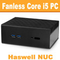 "Fanless Intel ""Haswell"" NUC Core i5 PC, 4GB DDR3, 60GB SSD [Streacom-NC2-4-60]"