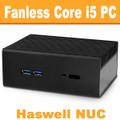 "Fanless Intel ""Haswell"" NUC Core i5 PC, 4GB DDR3, 60GB SSD [Streacom-NC2-4-60]"