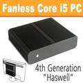 Fanless Thin Mini-ITX PC Quad Core i5 Haswell, 8GB, 120GB SSD [H81TN]