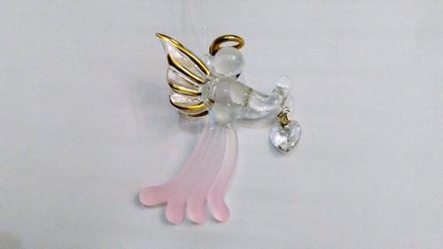 Hanging Glass Angel  (pink)