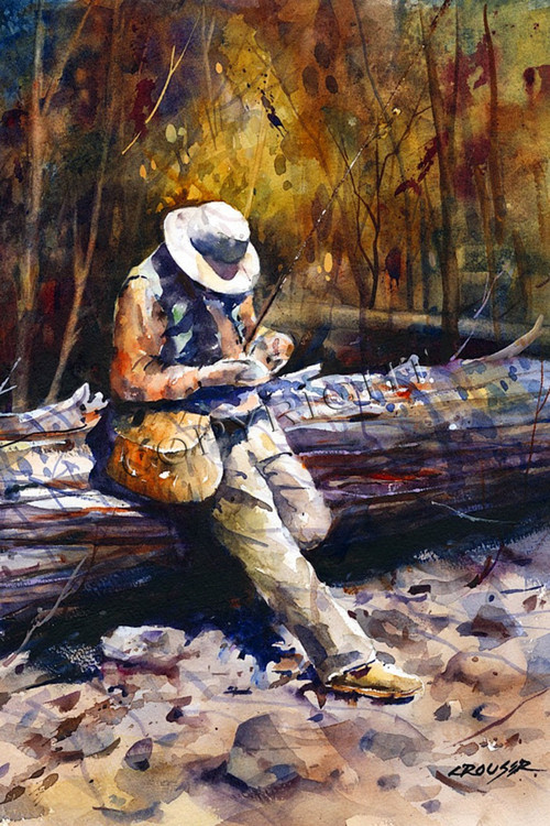 """""""DECISIONS"""" limited edition signed and numbered trout fishing scene print from an original watercolor painting by Dean Crouser. Edition limited to 200 prints."""