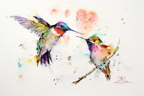 This print captures a pair of hummingbirds approaching each other with a heart hovering in the background. All of Dean's wildlife and nature watercolor paintings strive to capture the essence the subject whether it is a fish, bird or animal or landscape. His unique style aims to depict a subject in a way the viewer has never seen before in a watercolor painting.