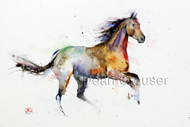 This print depicts a colorful galloping spirited horse in action.  All of Dean's wildlife and nature watercolor paintings strive to capture the essence the subject whether it is a fish, bird or animal. His unique style aims to depict a subject in a way the viewer has never seen before in a watercolor painting.