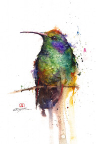 """HUMMER"" limited edition signed and numbered hummingbird bird print from an original watercolor painting by Dean Crouser. Edition limited to 400 prints."