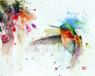 This print depicts a hungry hummingbird approaching a colorful nearby flower. All of Dean's wildlife and nature watercolor paintings strive to capture the essence the subject whether it is a fish, bird or animal. His unique style aims to depict a subject in a way the viewer has never seen before.