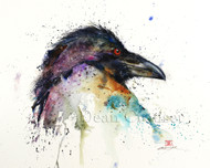 """CONFIDENCE"" limited edition signed and numbered raven print from an original watercolor painting by Dean Crouser. Edition limited to 400 prints."