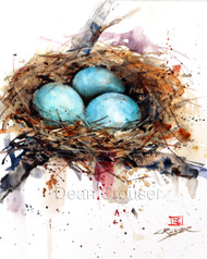 """BIRD NEST"" limited edition signed and numbered bird print from an original watercolor painting by Dean Crouser. Edition limited to 400 prints."