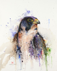 """PEREGRINE"" limited edition signed and numbered falcon bird print from an original watercolor painting by Dean Crouser. Edition limited to 400 prints."