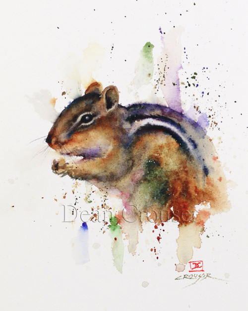 """CHIPMUNK"" limited edition signed and numbered chipmunk animal print from an original watercolor painting by Dean Crouser. Edition limited to 400 prints."