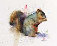 """SQUIRREL"" limited edition signed and numbered squirrel animal print from an original watercolor painting by Dean Crouser. Edition limited to 400 prints."