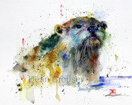 WHISKERS signed and numbered limited edition otter print from an original watercolor painting by Dean Crouser. Edition limited to 400 prints.