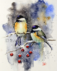 CHICKADEE & CRABAPPLE signed and numbered winter bird print from an original watercolor painting by Dean Crouser. Edition limited to 400 prints.