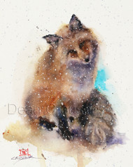 WINTER FOX signed and numbered limited edition wildlife print from an original painting by Dean Crouser. Edition limited to 400 prints.