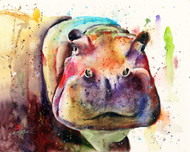 BIG AL hippopotamus print from an original watercolor painting by Dean Crouser. Be sure to check out Dean's other wildlife paintings!