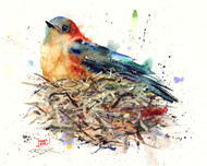 WAITING signed and numbered bird print from an original watercolor painting by Dean Crouser. This painting depicts a little bluebird waiting patiently on her nest for the big day. Painted in Dean's loose, colorful style. Edition limited to 400 prints. Be sure to check out Dean's other nature and wildlife watercolor paintings!