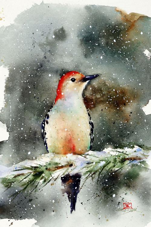 Woodpecker In Snow The Art Of Dean Crouser