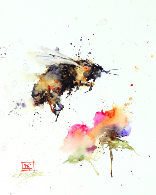 """BUMBLEBEE & FLOWER"" limited edition watercolor print from an original painting by Dean Crouser. This high quality giclee' print will be signed and numbered by Dean and the edition is limited to 400 prints. This painting depicts a hungry bumblebee descending on a nearby flower. This print will be professionally packaged for safe shipping. Please be sure to visit Dean's other bird, bee, hummingbird and nature watercolor art. Thanks for looking!"