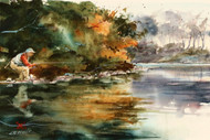 """""""A STEALTHY APPROACH"""" is an ORIGINAL watercolor painting by Dean Crouser. Measures approximately 7"""" tall by 10.5"""" wide. This painting depicts a fisherman quietly approaching a rising fish. Here's a chance to own an original at a very reasonable price! Artist retains all future right to the use of this image."""