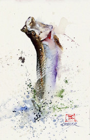 """TARPON, Sketch"", original watercolor painting by Dean Crouser. Here's an opportunity to own a DC original at a very affordable price. Measures approximately 4-1/2"" wide by 7-1/2"" tall. Artist retains all to the future use of this image. Thanks for looking!"