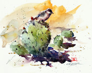 """""""BIRD on CACTUS, Sketch"""" original watercolor painting by Dean Crouser. This painting was inspired on a recent trip that Dean took to desert hills above Tucson, AZ. Here's a great opportunity to own a DC original!"""