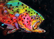 """""""CRAZY TROUT"""" limited edition giclee' print from an original painting by Dean Crouser. Every now and then Dean takes a break from watercolors to play with acrylics. He feels that when it comes to color, """"the more the better"""" and this painting is not lacking in bright, living color! Signed and numbered by the artist, edition limited to 400 prints."""